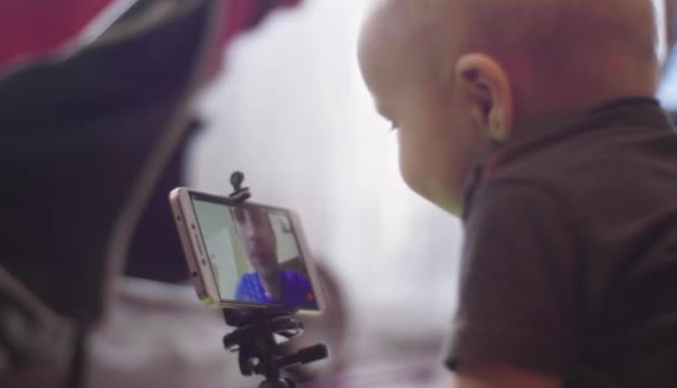 Baby on video call